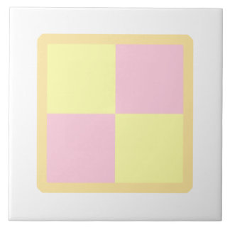Battenburg Cake. Pink and Yellow. Large Square Tile