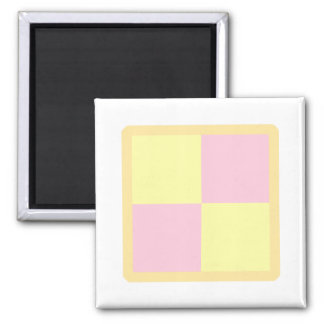 Battenburg Cake. Pink and Yellow. Square Magnet