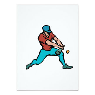 Batter hitting ball personalized invitations