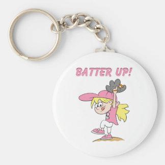 Batter Up Basic Round Button Key Ring