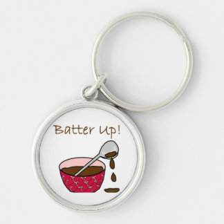 Batter Up Silver-Colored Round Key Ring