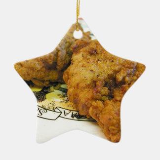 Battered Chicken Ceramic Star Decoration