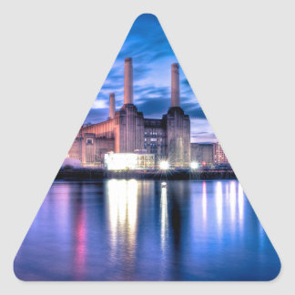 Battersea Power Station at night Triangle Sticker