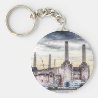 Battersea Power-Station London Snow Basic Round Button Key Ring