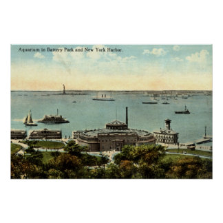 Battery Park Aquarium NY 1920 Vintage Print
