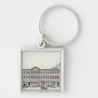 Battery West side Pine and California Silver-Colored Square Key Ring