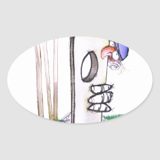 BATTING LESSON, tony fernandes Oval Sticker