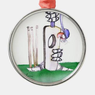 BATTING LESSON, tony fernandes Silver-Colored Round Decoration