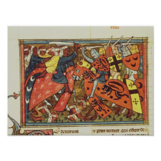 Battle between Crusaders and Moslems Poster
