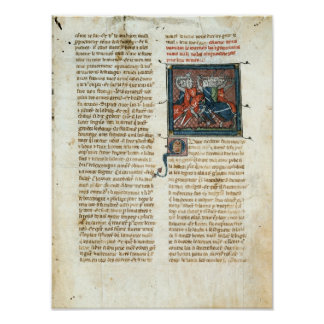 Battle between knights, from 'Roman d'Artus' Poster