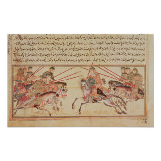Battle between Mongol tribes, 13th century Poster