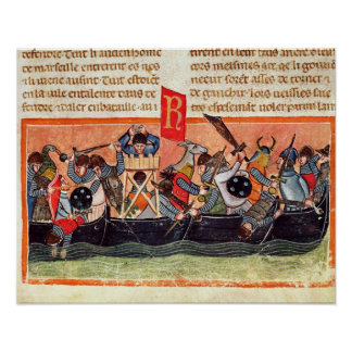 Battle between Romans and Gauls Print