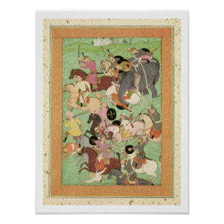 Battle between the forces of Iran and Turan, illus Poster