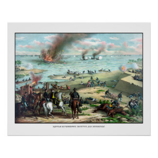 Battle Between The Monitor And Merrimac Poster