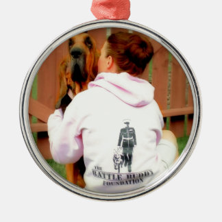 Battle Buddy  and PTSD Awareness Silver-Colored Round Decoration