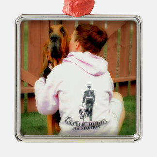 Battle Buddy  and PTSD Awareness Silver-Colored Square Decoration