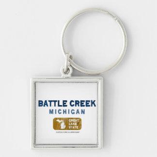 Battle Creek Michigan Great Lake State Silver-Colored Square Key Ring