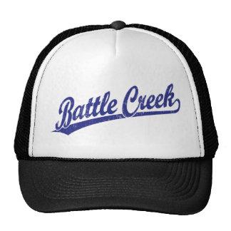 Battle Creek script logo in blue Cap