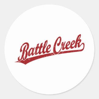 Battle Creek script logo in red Sticker