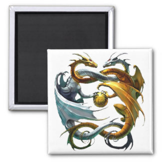 Battle Dragons Square Magnet