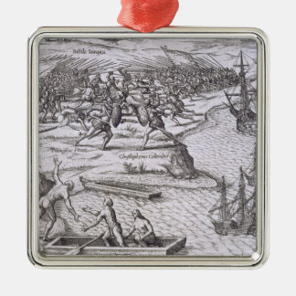 Battle in Jamaica between Christopher Columbus (14 Christmas Ornament