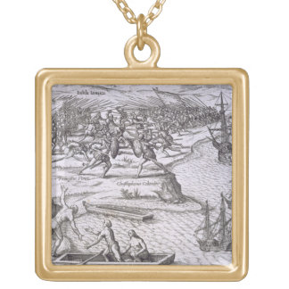 Battle in Jamaica between Christopher Columbus (14 Gold Plated Necklace