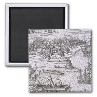 Battle in Jamaica between Christopher Columbus (14 Fridge Magnets
