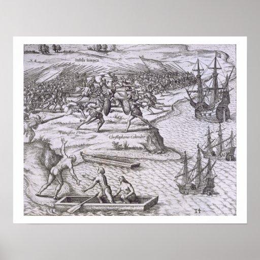 Battle in Jamaica between Christopher Columbus (14 Print