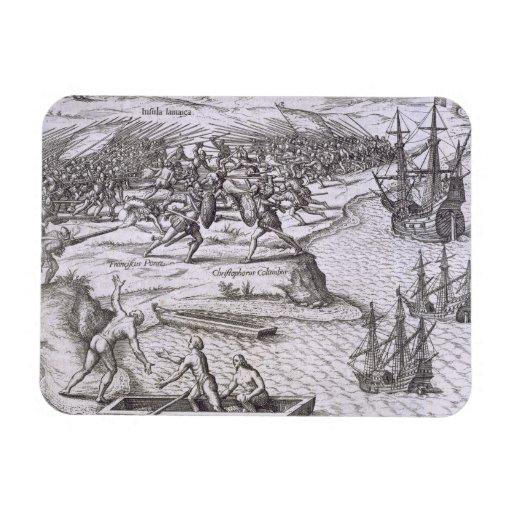 Battle in Jamaica between Christopher Columbus (14 Magnet