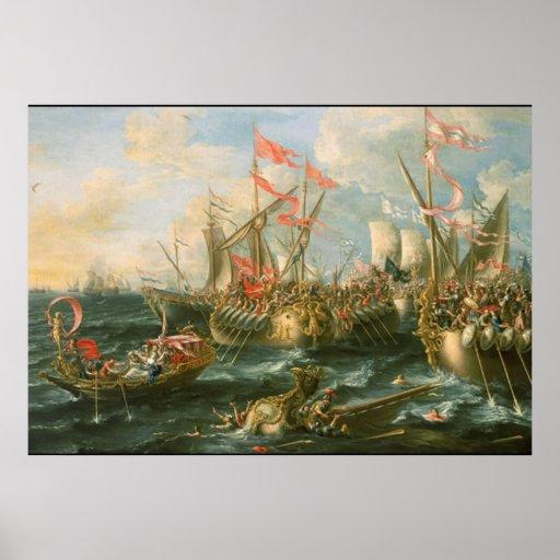 Battle of Actium Vintage Poster Poster
