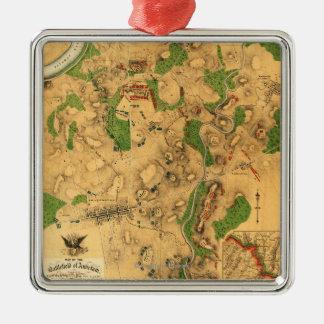 Battle of Antietam - Civil War Panoramic Map 3 Christmas Tree Ornament
