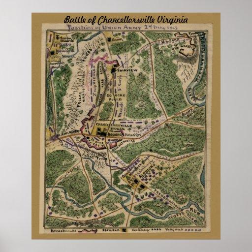 Battle of Chancellorsville Virginia - Map Poster