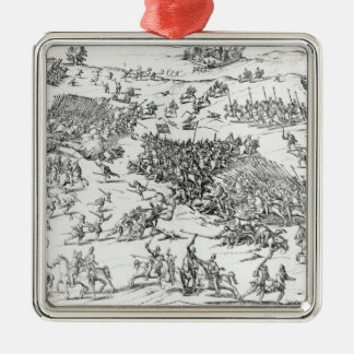 Battle of Courtrais Between French and Flemish Silver-Colored Square Decoration