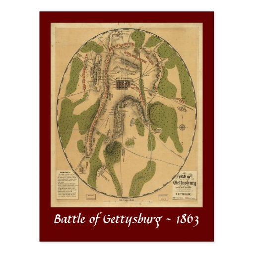 Battle of Gettysburg Map - 1863 Post Cards
