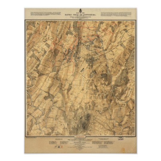 Battle of Gettysburg map Poster
