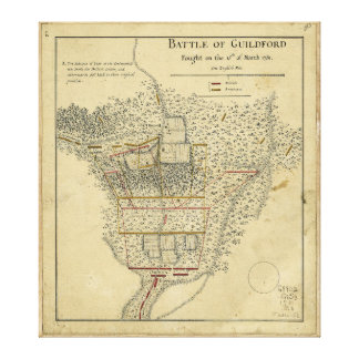 Battle of Guildford Map March 15 1781 Gallery Wrap Canvas