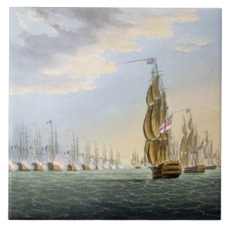 Battle of the Nile, August 1st 1798, engraved by T Large Square Tile
