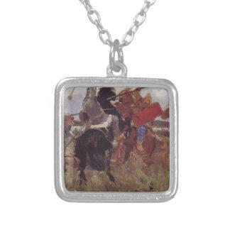 Battle of the Scythians with the Slavs Viktor Square Pendant Necklace