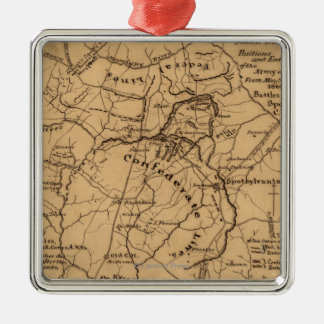 Battle of the Wilderness - Civil War Panoramic 2 Silver-Colored Square Decoration