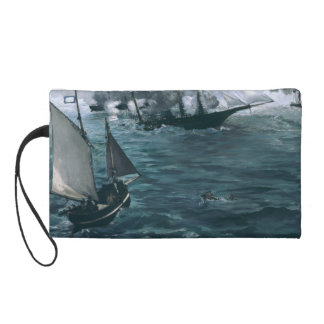 Battle of USS Kearsarge and CSS Alabama by Manet Wristlet Purse
