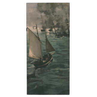 Battle of USS Kearsarge and CSS Alabama by Manet Wood USB 2.0 Flash Drive