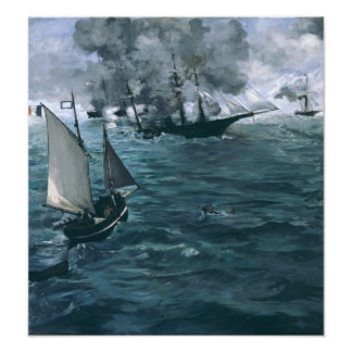 Battle of USS Kearsarge and CSS Alabama by Manet Photo