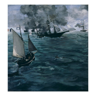 Battle of USS Kearsarge and CSS Alabama by Manet Poster