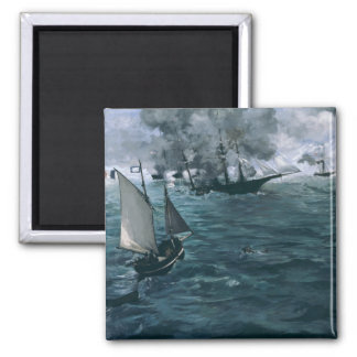 Battle of USS Kearsarge and CSS Alabama by Manet Square Magnet