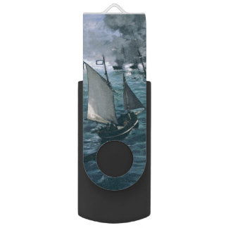 Battle of USS Kearsarge and CSS Alabama by Manet Swivel USB 2.0 Flash Drive
