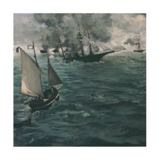 Battle of USS Kearsarge and CSS Alabama by Manet Wood Canvases