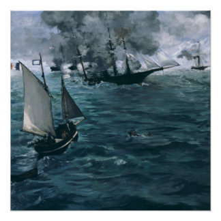Battle of USS Kearsarge and CSS Alabama by Manet Perfect Poster