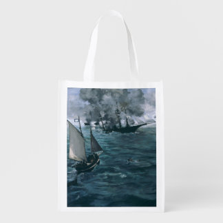 Battle of USS Kearsarge and CSS Alabama by Manet Reusable Grocery Bags