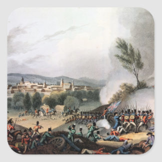 Battle of Vittoria,etched by I. Clark Square Stickers