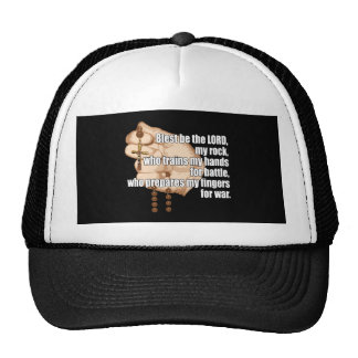 Battle Rosary White Text Trucker Hats